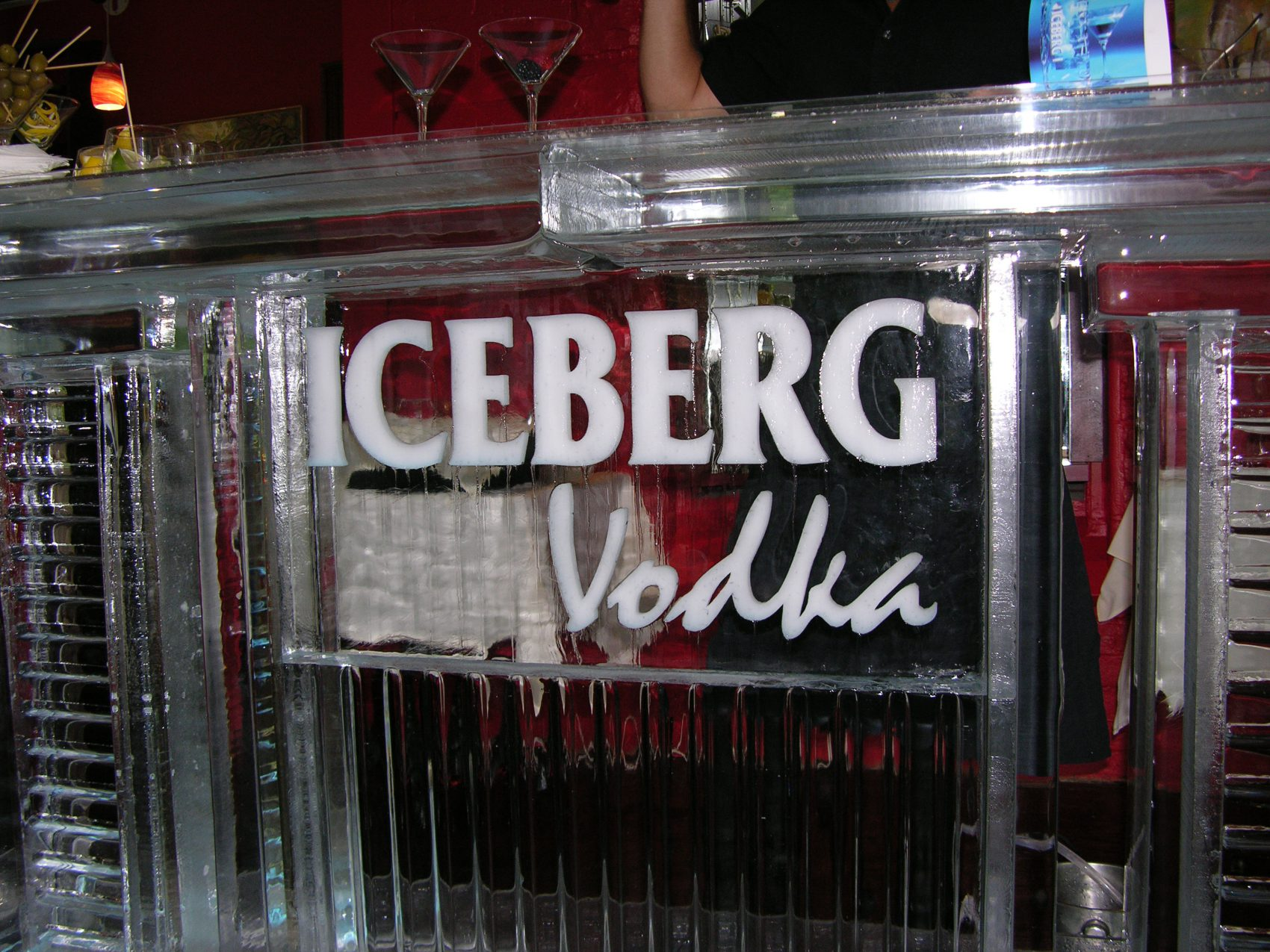 Iceberg Vodka ice bar close up