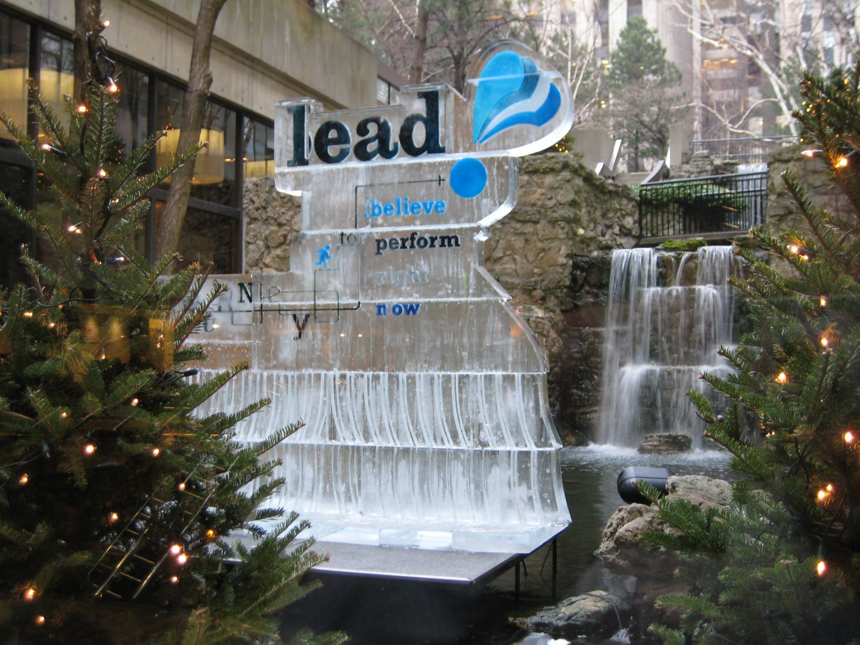 Large lead logo with waterfalls