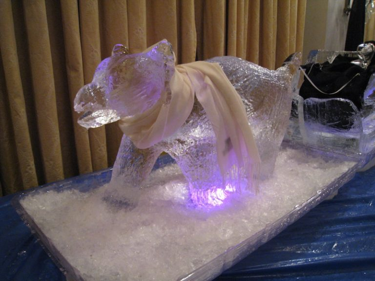 Team building ice sculpture – dog