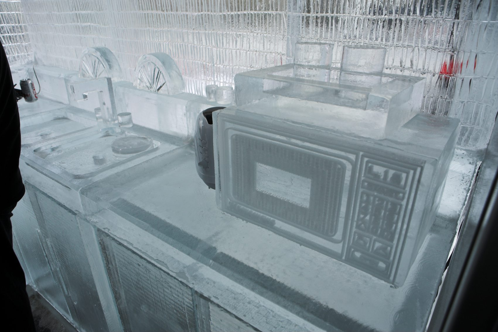 Kitchen made out of ice with detailed microwave