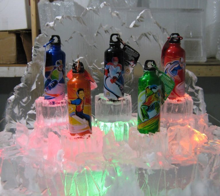 Water bottle ice presentation